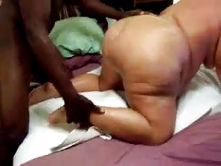 Fat Grandma fucked by young black cock