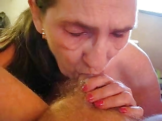 Old whore eats my cum. Amateur older