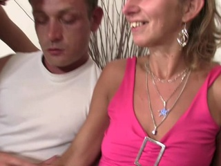Mother-in-law sits on mine penis and housewife watches