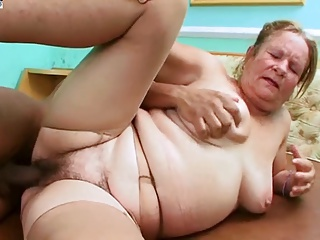 Hairy Granny fucks with Young Guy