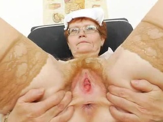 Head nurse practitioner inside glasses teases her muff