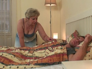 Nice grandma seduces him but housewife finds out!