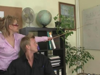 Old Office bitch swallows his big young rod