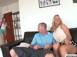 Valentina catches stepmom sucking a cock