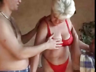 busty granny pleased by two guys